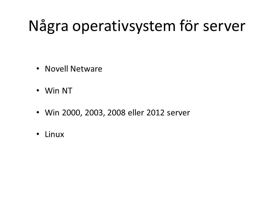 Några operativsystem för server Novell Netware Win NT Win 2000, 2003, 2008 eller 2012 server Linux