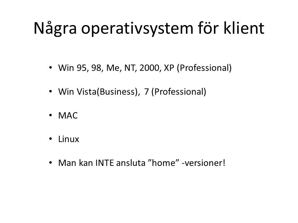 "Några operativsystem för klient Win 95, 98, Me, NT, 2000, XP (Professional) Win Vista(Business), 7 (Professional) MAC Linux Man kan INTE ansluta ""home"
