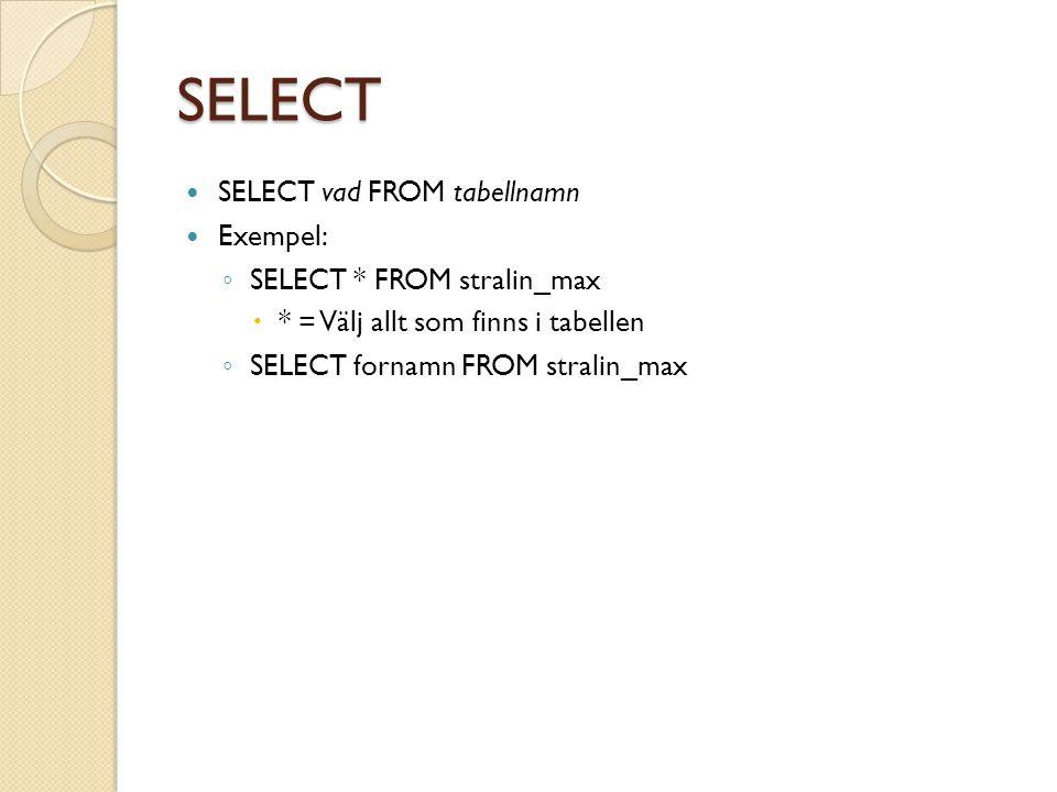 SELECT, lista allt du har i tabellen $alla = mysql_query('SELECT * FROM stralin_max'); //Gå igenom rad för rad //Läs mer om vad mysql_fetch_assoc gör genom att klicka på denna slidemysql_fetch_assocslide while ($person = mysql_fetch_assoc($alla)) {mysql_fetch_assoc echo $person[fornamn] $person[efternamn] har ID: $person[ID] ; } Då får du detta resultat: Max Strålin har ID: 1 Anders Hedberg har ID: 2 IDfornamnefternamnalder 1MaxStrålin17 2AndersHedberg37