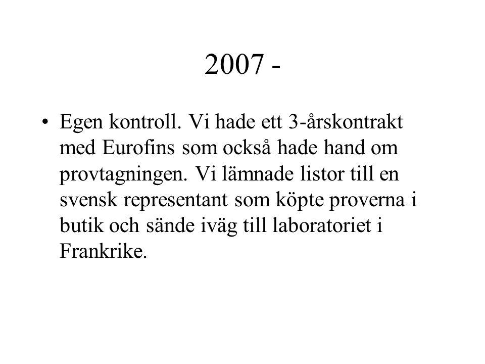 2007 - Egen kontroll. Vi hade ett 3-årskontrakt med Eurofins som också hade hand om provtagningen. Vi lämnade listor till en svensk representant som k