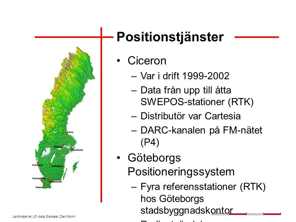 Lantmäteriet, LF-data Geodesi, Dan Norin Virtuell station Refstn 1 Refstn 2 Refstn n SWEPOS server GSM modem SWEPOS data NMEA position ROVE R GPS Nätverks-RTK-program RTCM, virtuell station