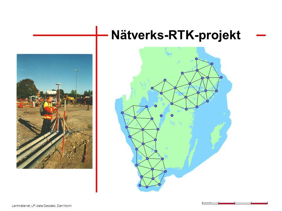 Lantmäteriet, LF-data Geodesi, Dan Norin Positionstjänster Ciceron –Var i drift 1999-2002 –Data från upp till åtta SWEPOS-stationer (RTK) –Distributör var Cartesia –DARC-kanalen på FM-nätet (P4) Göteborgs Positioneringssystem –Fyra referensstationer (RTK) hos Göteborgs stadsbyggnadskontor –Radioutsändning SWEPOS nätverks-RTK- projekt