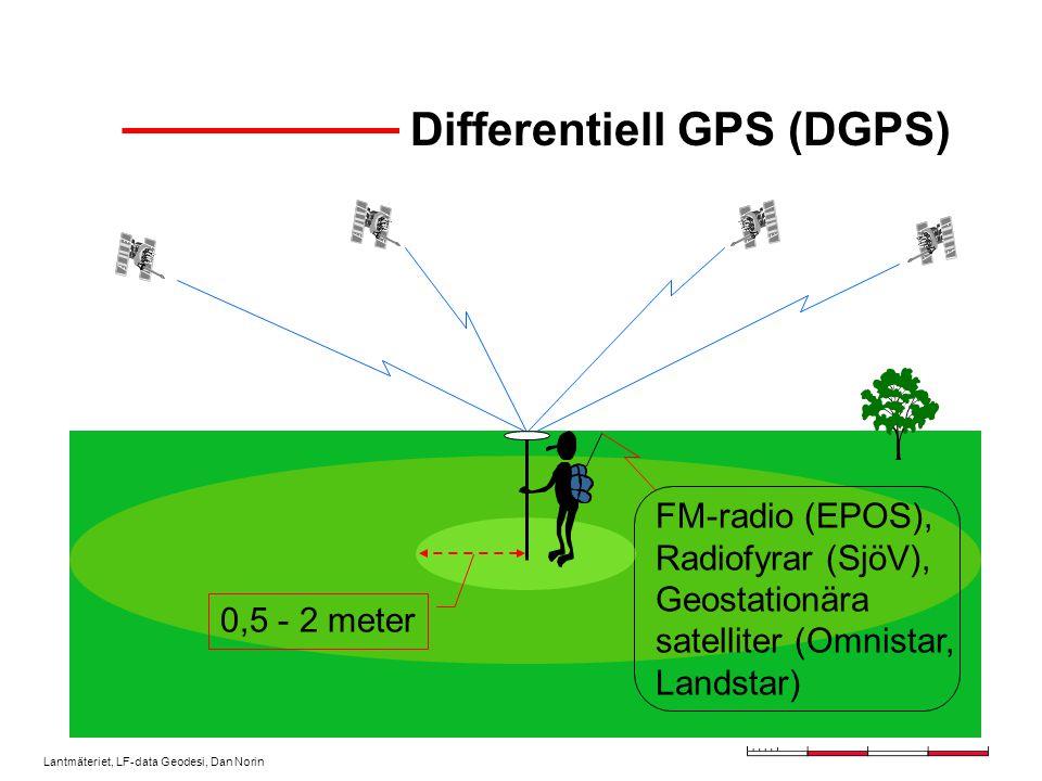 Lantmäteriet, LF-data Geodesi, Dan Norin Differentiell GPS (DGPS) FM-radio (EPOS), Radiofyrar (SjöV), Geostationära satelliter (Omnistar, Landstar) 0,5 - 2 meter