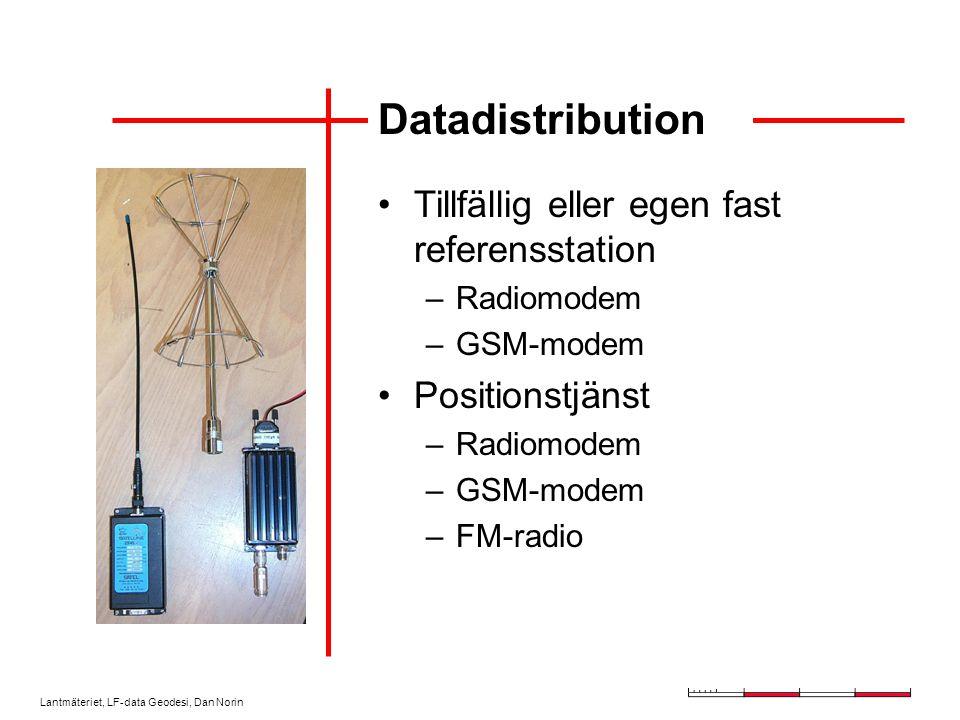 Lantmäteriet, LF-data Geodesi, Dan Norin Datadistribution Tillfällig eller egen fast referensstation –Radiomodem –GSM-modem Positionstjänst –Radiomodem –GSM-modem –FM-radio