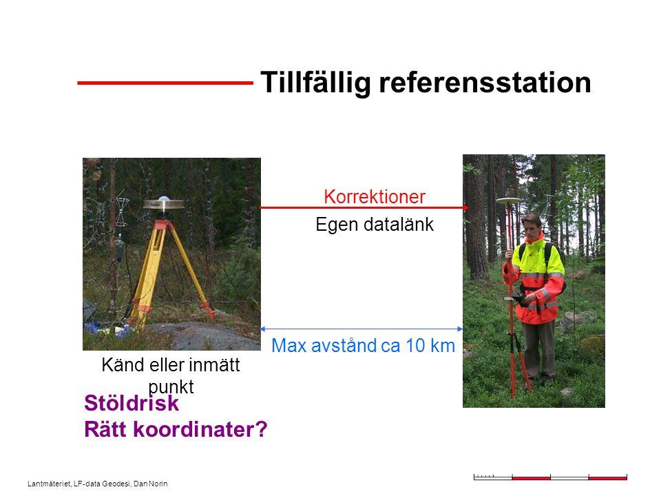 Lantmäteriet, LF-data Geodesi, Dan Norin Tillfällig referensstation Korrektioner Känd eller inmätt punkt Egen datalänk Max avstånd ca 10 km Stöldrisk Rätt koordinater?