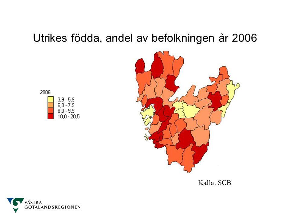 Utrikes födda, andel av befolkningen år 2006 Källa: SCB