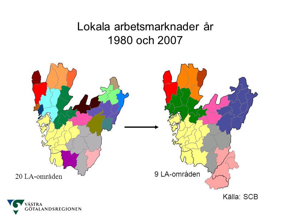 Lokala arbetsmarknader år 1980 och 2007 Källa: SCB 20 LA-områden 9 LA-områden