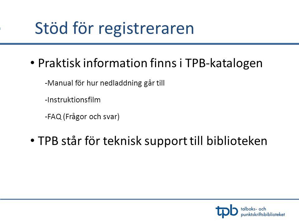Stöd för registreraren Praktisk information finns i TPB-katalogen -Manual för hur nedladdning går till -Instruktionsfilm -FAQ (Frågor och svar) TPB st