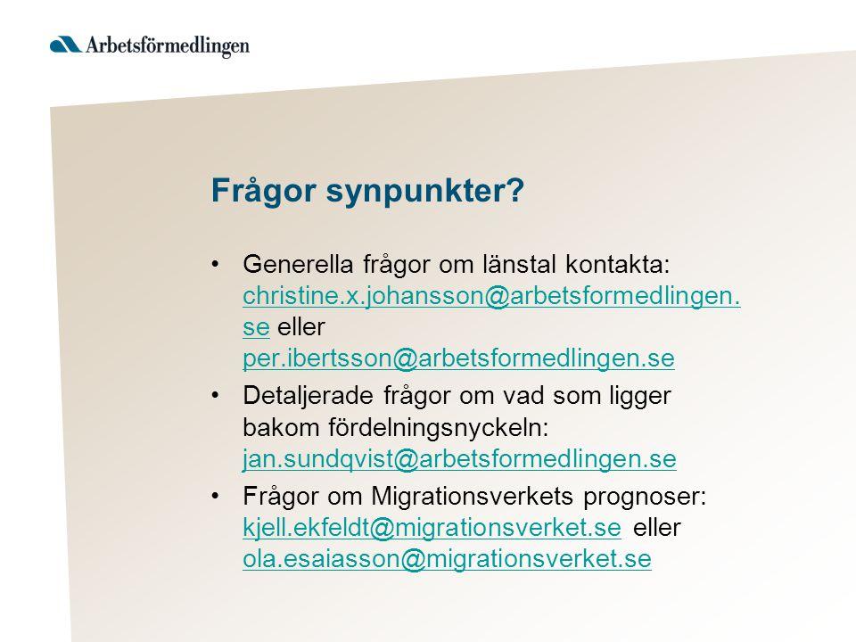 Frågor synpunkter? Generella frågor om länstal kontakta: christine.x.johansson@arbetsformedlingen. se eller per.ibertsson@arbetsformedlingen.se christ