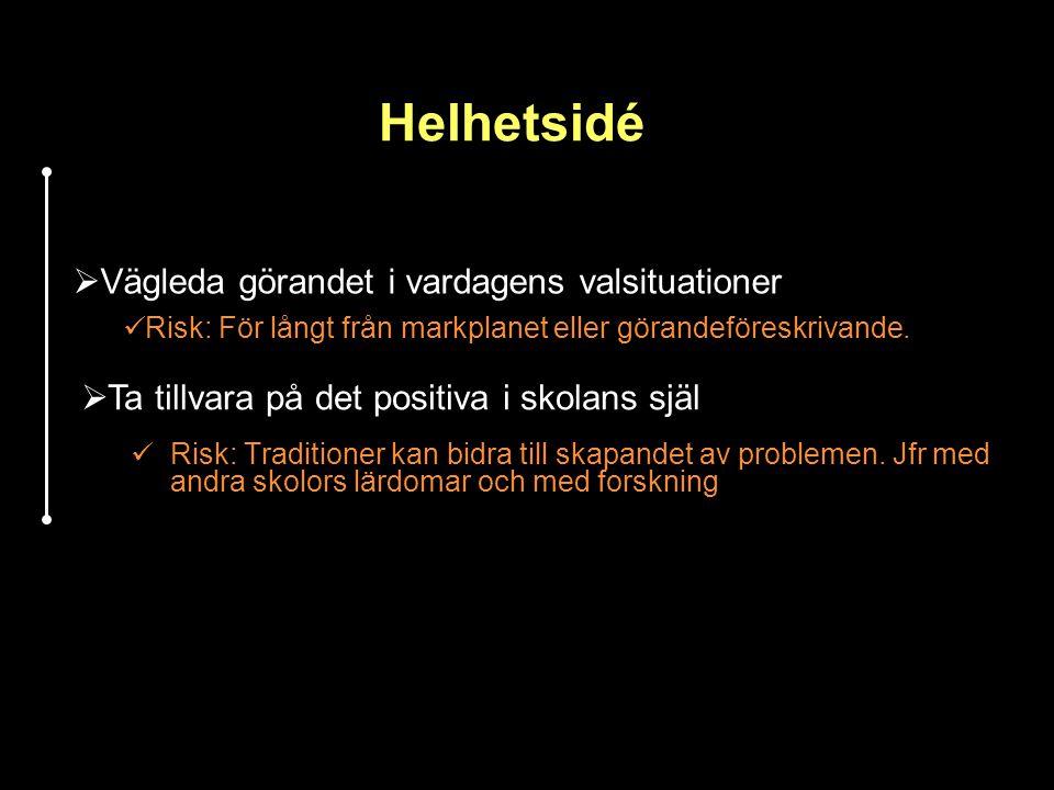 Helhetsidé Risk: Traditioner kan bidra till skapandet av problemen. Jfr med andra skolors lärdomar och med forskning  Vägleda görandet i vardagens va