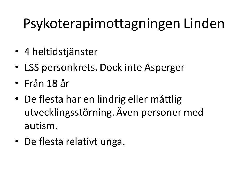 Psykoterapimottagningen Linden 4 heltidstjänster LSS personkrets. Dock inte Asperger Från 18 år De flesta har en lindrig eller måttlig utvecklingsstör