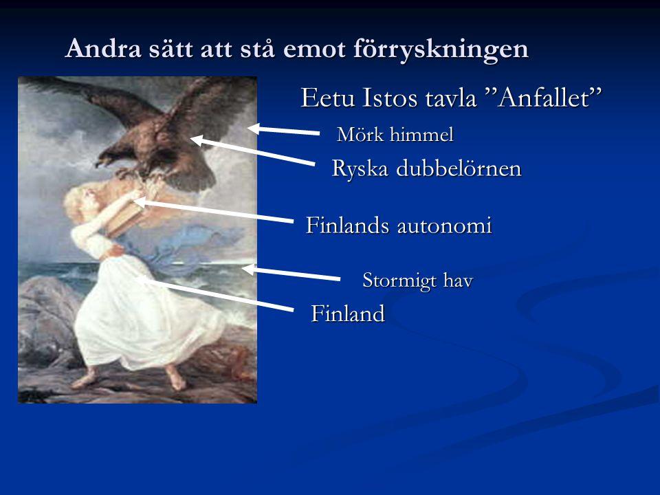 Andra sätt att stå emot förryskningen Eetu Istos tavla Anfallet Ryska dubbelörnen Finlands autonomi Finland Mörk himmel Stormigt hav