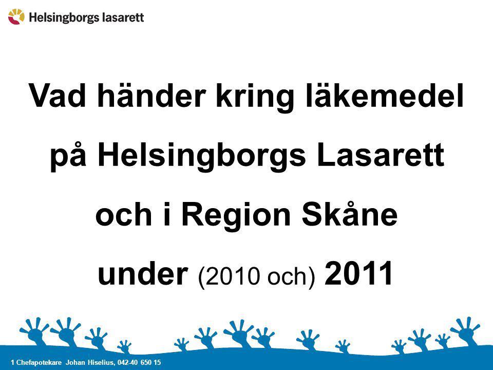 1 Chefapotekare Johan Hiselius, 042-40 650 15 Vad händer kring läkemedel på Helsingborgs Lasarett och i Region Skåne under (2010 och) 2011
