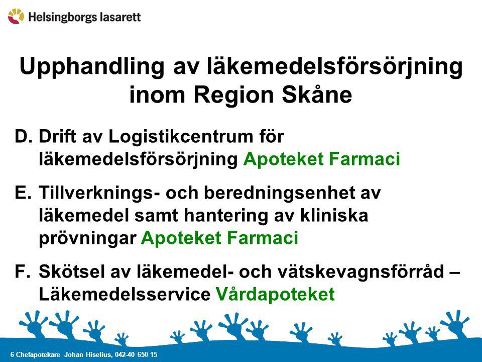 6 Chefapotekare Johan Hiselius, 042-40 650 15 Upphandling av läkemedelsförsörjning inom Region Skåne D.Drift av Logistikcentrum för läkemedelsförsörjn