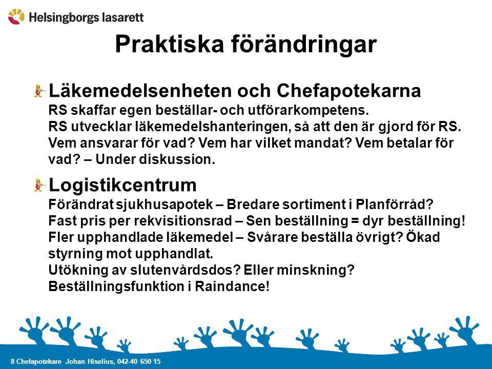 8 Chefapotekare Johan Hiselius, 042-40 650 15 Praktiska förändringar Läkemedelsenheten och Chefapotekarna RS skaffar egen beställar- och utförarkompet