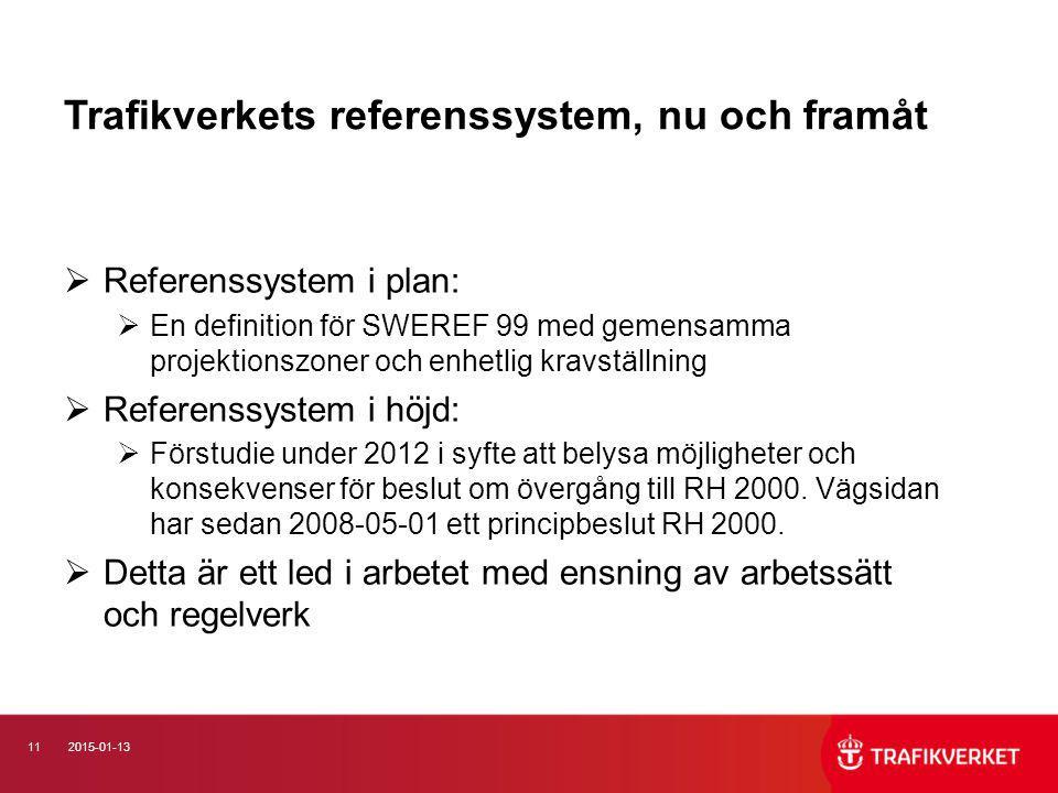 112015-01-13 Trafikverkets referenssystem, nu och framåt  Referenssystem i plan:  En definition för SWEREF 99 med gemensamma projektionszoner och en