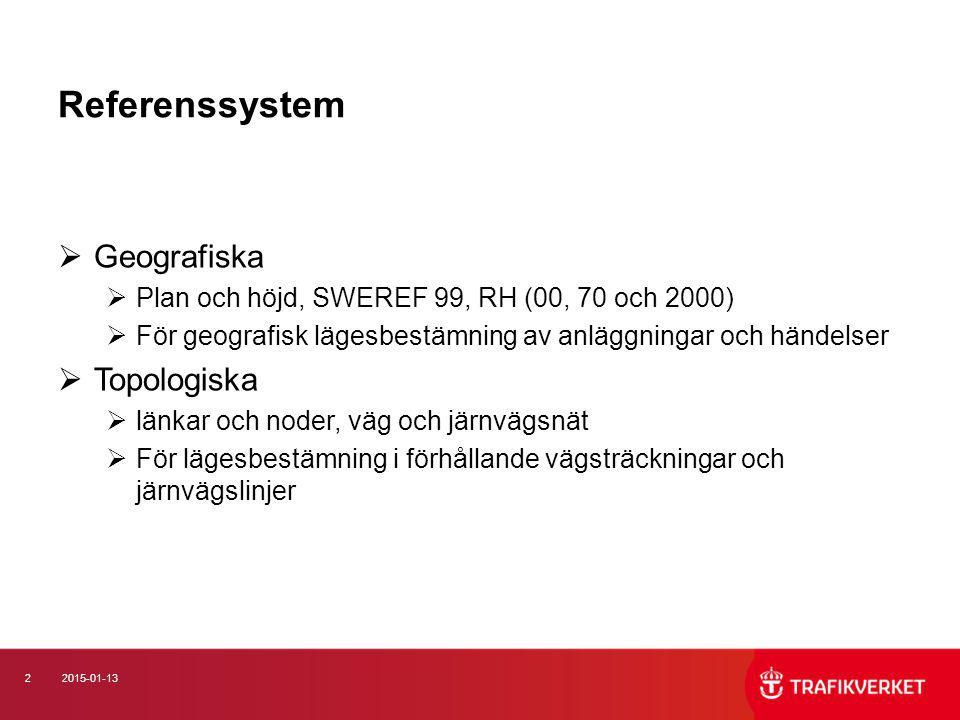 22015-01-13 Referenssystem  Geografiska  Plan och höjd, SWEREF 99, RH (00, 70 och 2000)  För geografisk lägesbestämning av anläggningar och händels