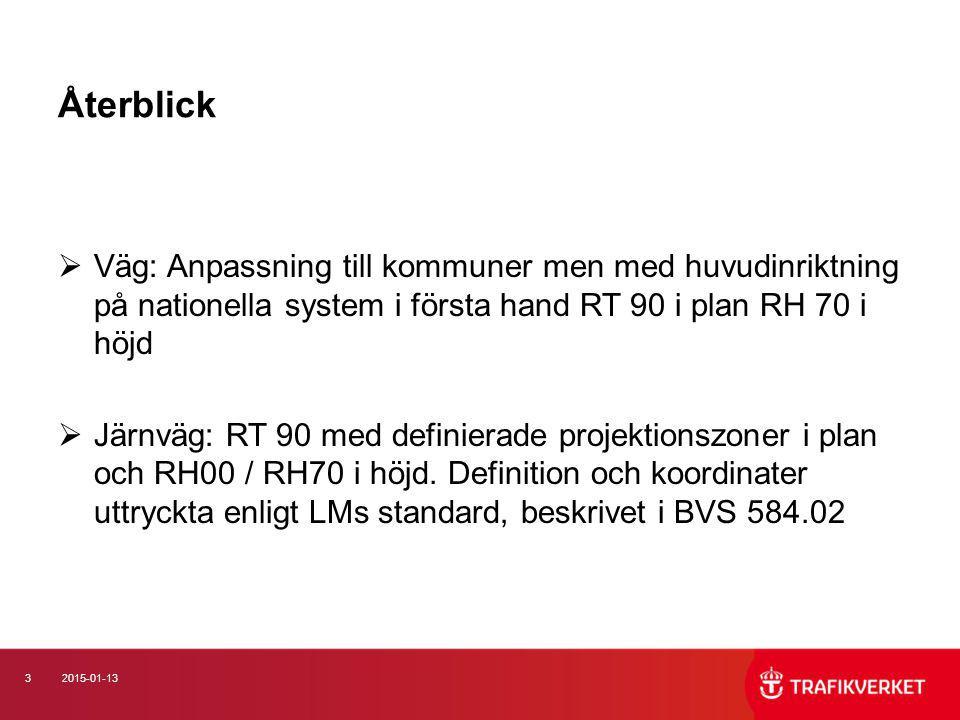 32015-01-13 Återblick  Väg: Anpassning till kommuner men med huvudinriktning på nationella system i första hand RT 90 i plan RH 70 i höjd  Järnväg: