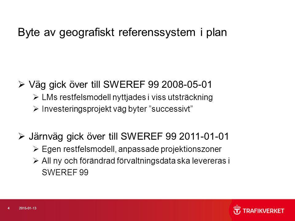 42015-01-13 Byte av geografiskt referenssystem i plan  Väg gick över till SWEREF 99 2008-05-01  LMs restfelsmodell nyttjades i viss utsträckning  I