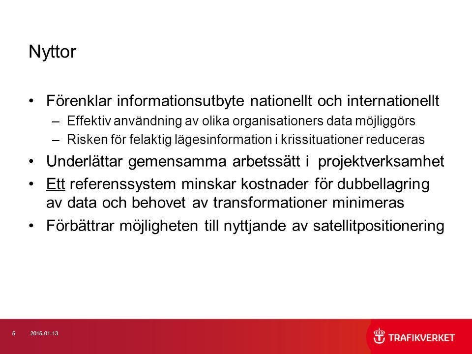 52015-01-13 Nyttor Förenklar informationsutbyte nationellt och internationellt –Effektiv användning av olika organisationers data möjliggörs –Risken f