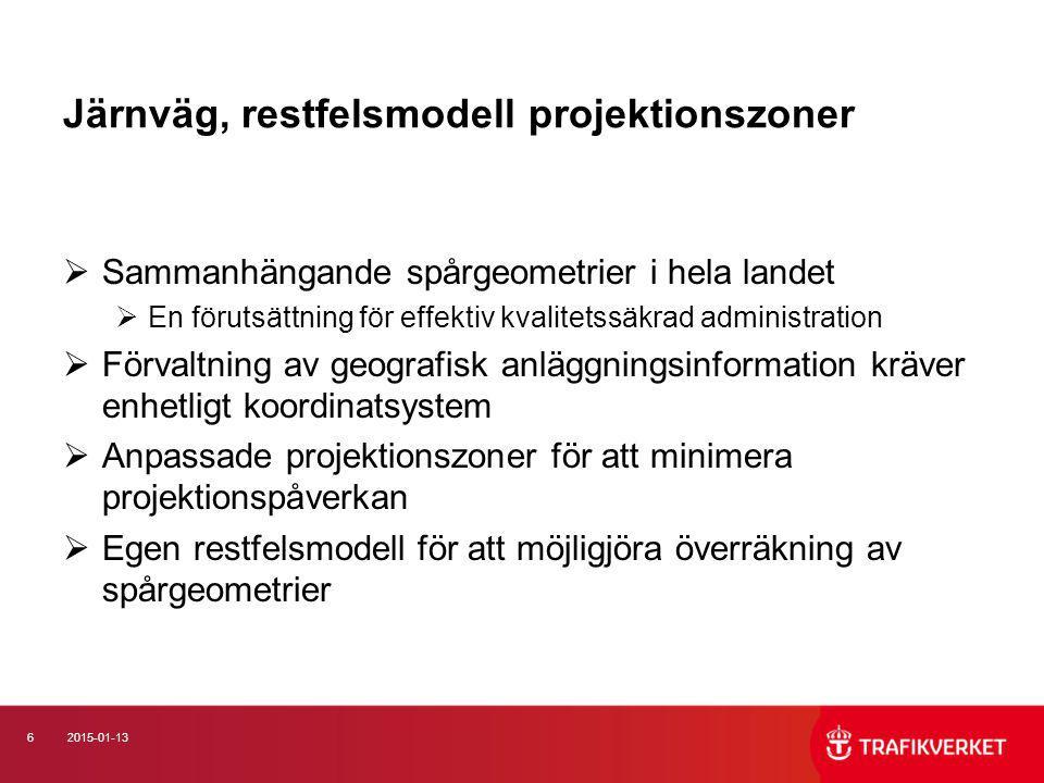 62015-01-13 Järnväg, restfelsmodell projektionszoner  Sammanhängande spårgeometrier i hela landet  En förutsättning för effektiv kvalitetssäkrad adm
