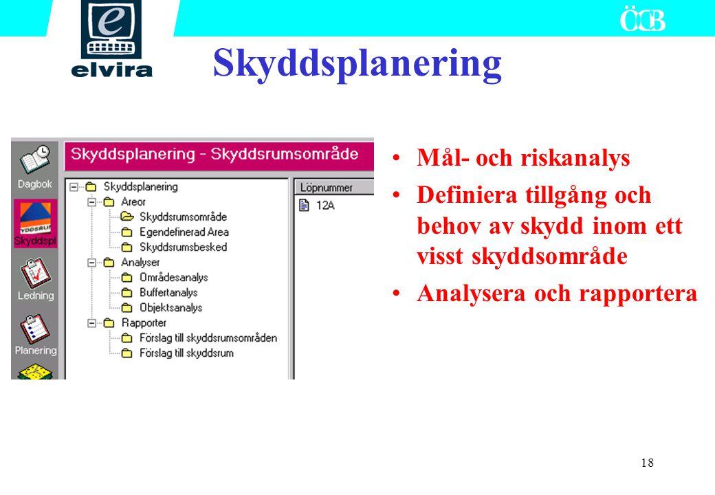 18 Mål- och riskanalys Definiera tillgång och behov av skydd inom ett visst skyddsområde Analysera och rapportera Skyddsplanering