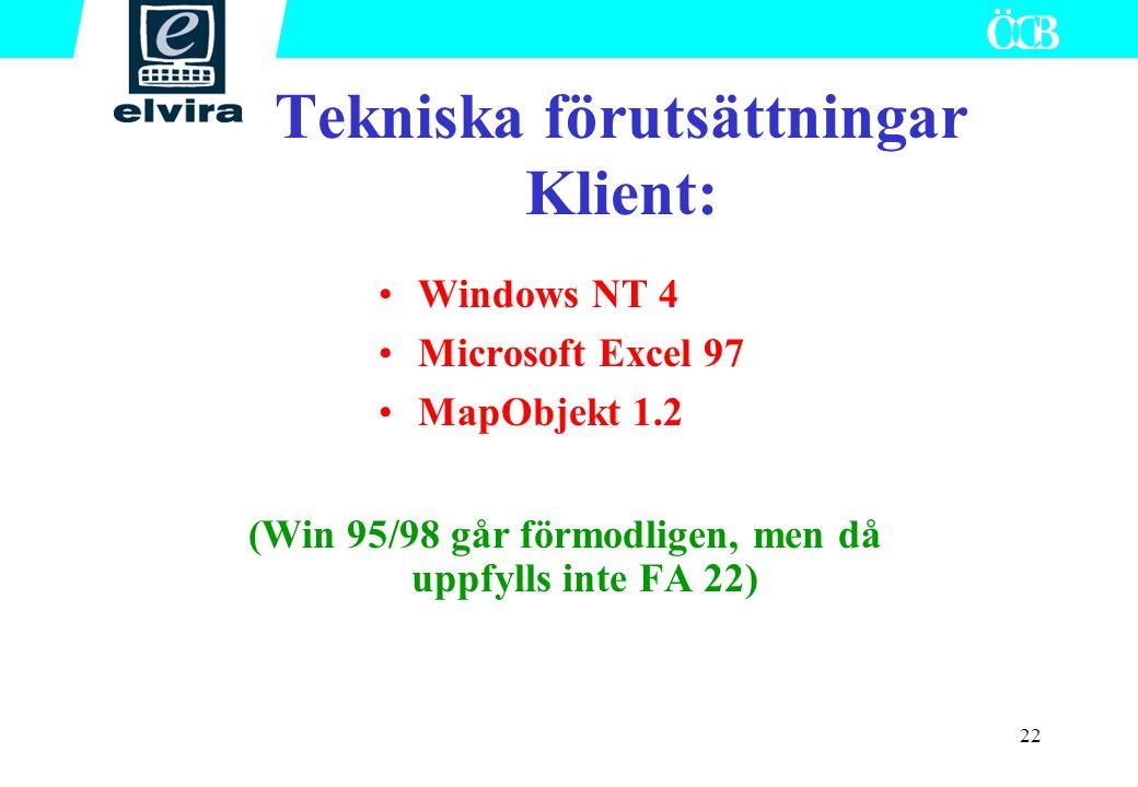 22 Tekniska förutsättningar Klient: Windows NT 4 Microsoft Excel 97 MapObjekt 1.2 (Win 95/98 går förmodligen, men då uppfylls inte FA 22)