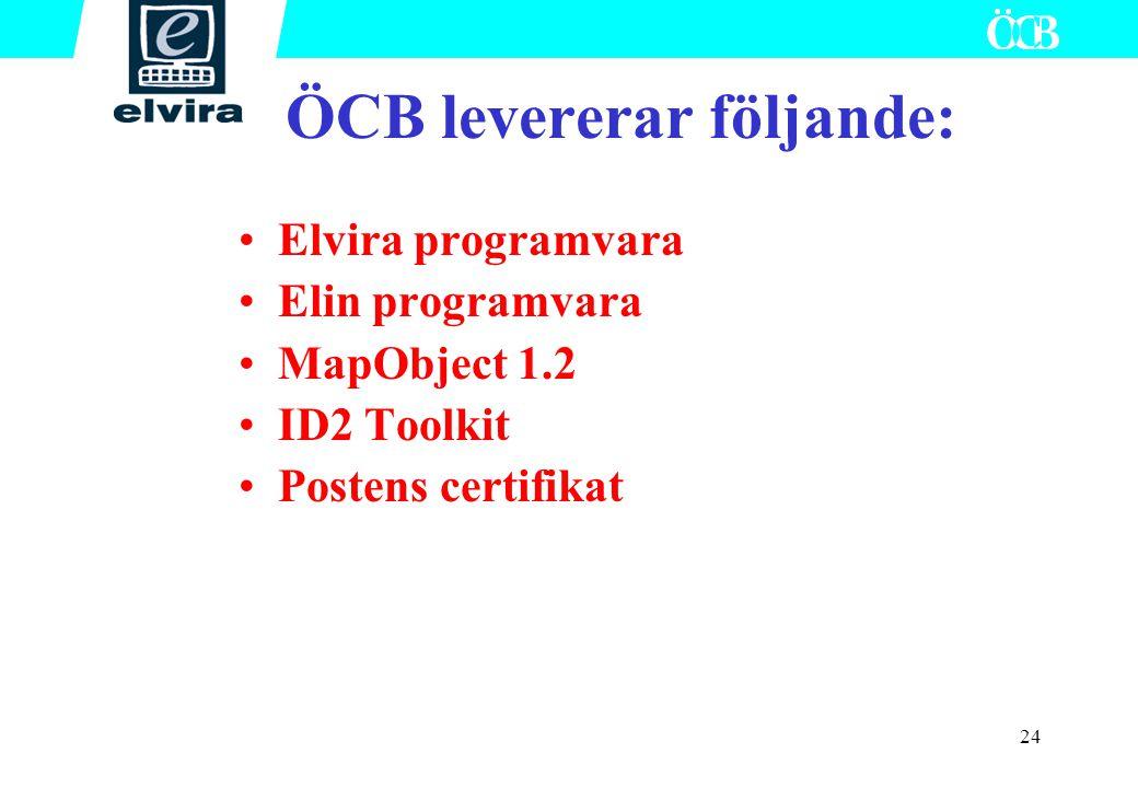 24 ÖCB levererar följande: Elvira programvara Elin programvara MapObject 1.2 ID2 Toolkit Postens certifikat