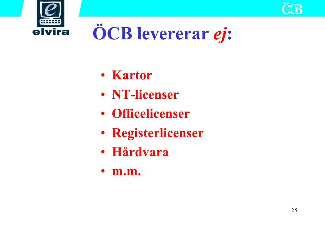25 Kartor NT-licenser Officelicenser Registerlicenser Hårdvara m.m. ÖCB levererar ej: