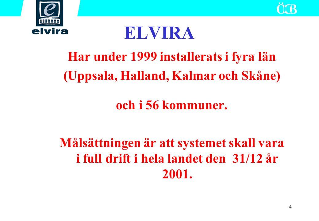 4 Har under 1999 installerats i fyra län (Uppsala, Halland, Kalmar och Skåne) och i 56 kommuner. Målsättningen är att systemet skall vara i full drift
