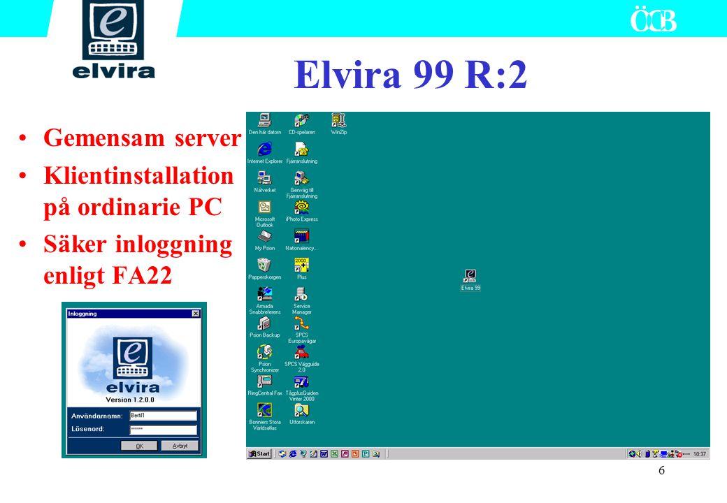 6 Elvira 99 R:2 Gemensam server Klientinstallation på ordinarie PC Säker inloggning enligt FA22