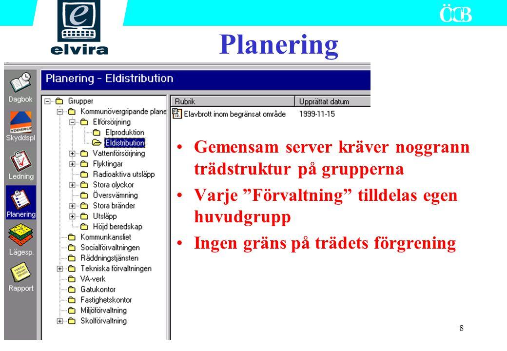 """8 Planering Gemensam server kräver noggrann trädstruktur på grupperna Varje """"Förvaltning"""" tilldelas egen huvudgrupp Ingen gräns på trädets förgrening"""