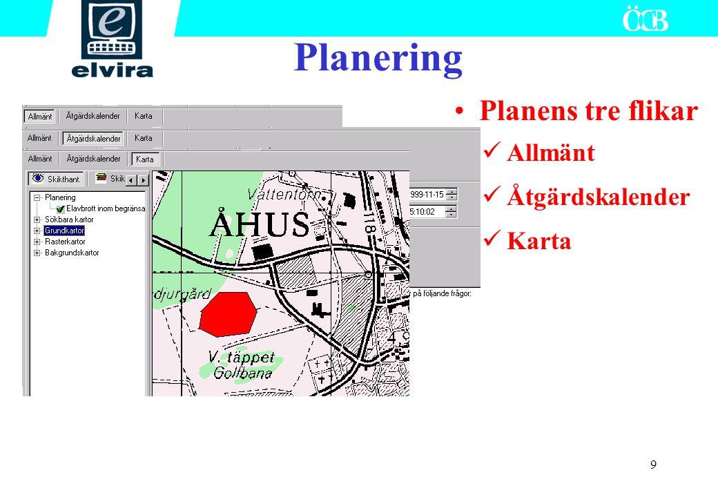 10 Händelse skapas med eller utan plan som grund Skarpa planer kan även användas vid övning Efter avslut kan händelse raderas Ledning