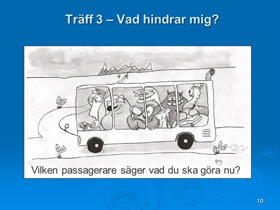 Träff 3 – Vad hindrar mig? Vilken passagerare säger vad du ska göra nu? 10