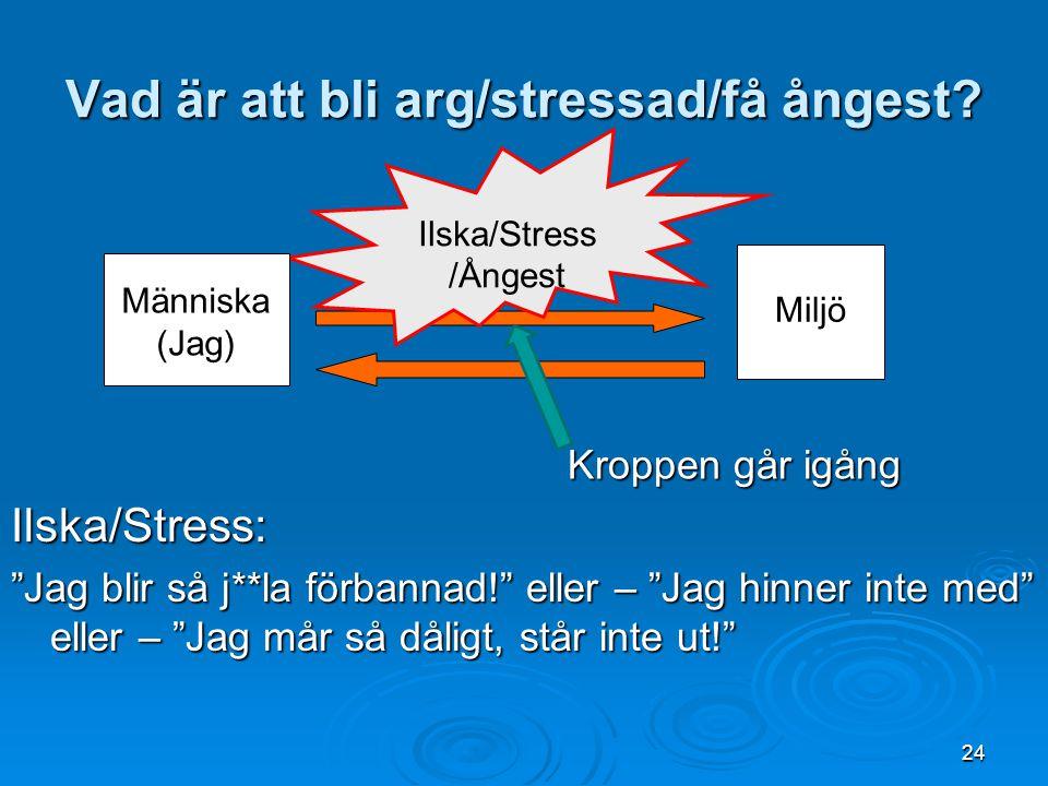 """Vad är att bli arg/stressad/få ångest? Ilska/Stress: """"Jag blir så j**la förbannad!"""" eller – """"Jag hinner inte med"""" eller – """"Jag mår så dåligt, står int"""