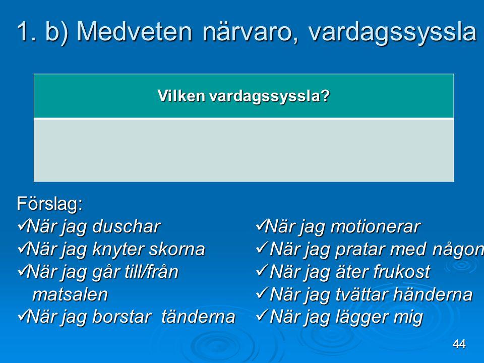 1. b) Medveten närvaro, vardagssyssla 1. b) Medveten närvaro, vardagssyssla Vilken vardagssyssla? Förslag: När jag duschar När jag duschar När jag kny