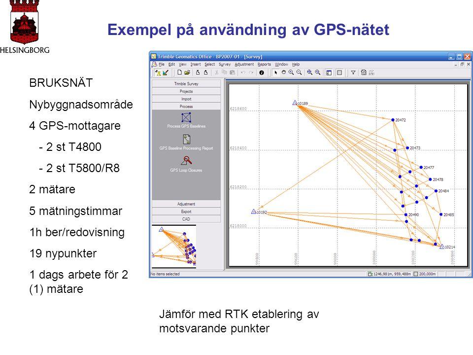 Exempel på användning av GPS-nätet BRUKSNÄT Nybyggnadsområde 4 GPS-mottagare - 2 st T4800 - 2 st T5800/R8 2 mätare 5 mätningstimmar 1h ber/redovisning