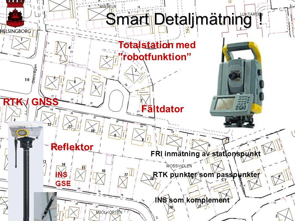 """Smart Detaljmätning ! Smart Detaljmätning ! FRI inmätning av stationspunkt RTK punkter som passpunkter RTK / GNSS Reflektor Totalstation med """"robotfun"""