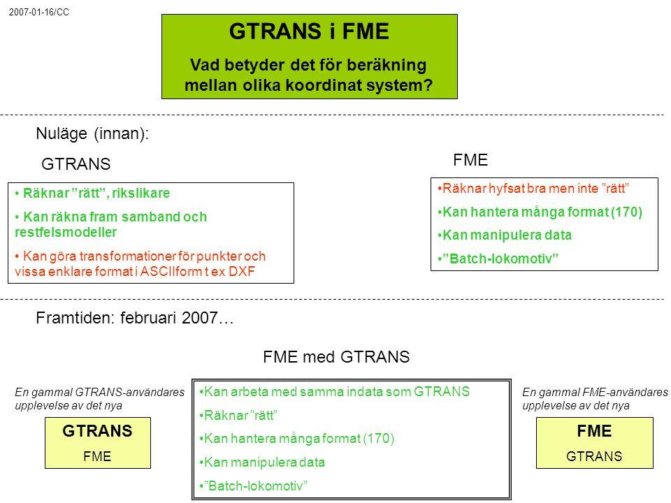 """GTRANS i FME Vad betyder det för beräkning mellan olika koordinat system? Nuläge (innan): GTRANS FME Räknar """"rätt"""", rikslikare Kan räkna fram samband"""