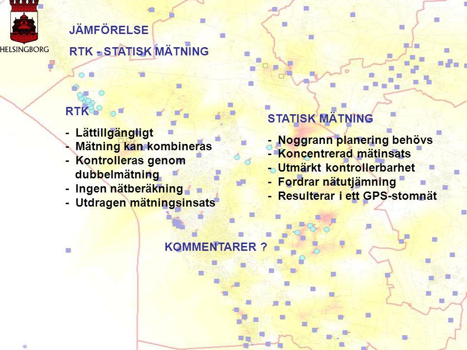 JÄMFÖRELSE RTK - STATISK MÄTNING RTK - Lättillgängligt - Mätning kan kombineras - Kontrolleras genom dubbelmätning - Ingen nätberäkning - Utdragen mät