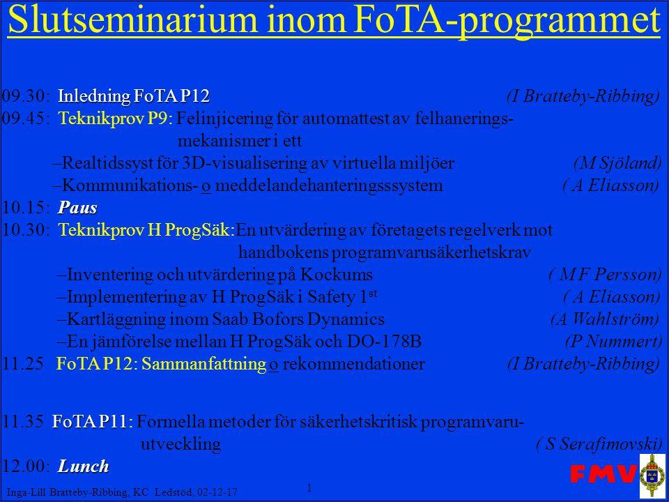 1 Inga-Lill Bratteby-Ribbing, KC Ledstöd, 02-12-17 Slut seminarium inom FoTA-programmet Inledning FoTA P12 09.30: Inledning FoTA P12 (I Bratteby-Ribbing) 09.45: Teknikprov P9: Felinjicering för automattest av felhanerings- mekanismer i ett –Realtidssyst för 3D-visualisering av virtuella miljöer (M Sjöland) –Kommunikations- o meddelandehanteringsssystem ( A Eliasson) Paus 10.15: Paus 10.30: Teknikprov H ProgSäk:En utvärdering av företagets regelverk mot handbokens programvarusäkerhetskrav –Inventering och utvärdering på Kockums ( M F Persson) –Implementering av H ProgSäk i Safety 1 st ( A Eliasson) –Kartläggning inom Saab Bofors Dynamics (A Wahlström) –En jämförelse mellan H ProgSäk och DO-178B (P Nummert) 11.25 FoTA P12: Sammanfattning o rekommendationer (I Bratteby-Ribbing) FoTA P11 11.35 FoTA P11: Formella metoder för säkerhetskritisk programvaru- utveckling ( S Serafimovski) Lunch 12.00: Lunch