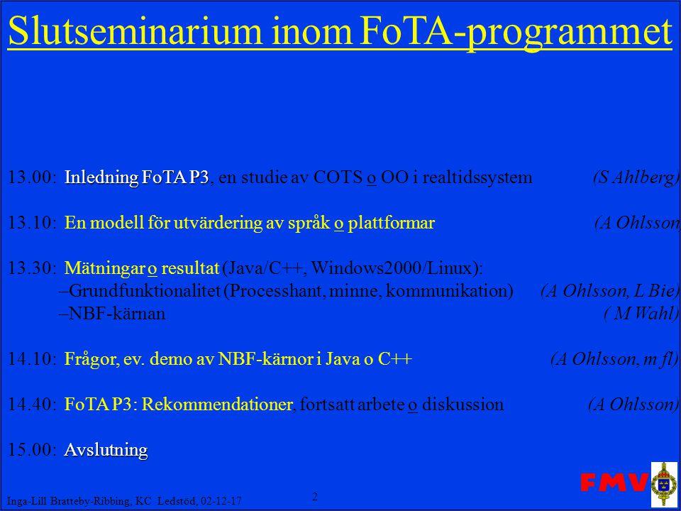 2 Inga-Lill Bratteby-Ribbing, KC Ledstöd, 02-12-17 Slut seminarium inom FoTA-programmet Inledning FoTA P3 13.00: Inledning FoTA P3, en studie av COTS o OO i realtidssystem (S Ahlberg) 13.10: En modell för utvärdering av språk o plattformar (A Ohlsson) 13.30: Mätningar o resultat (Java/C++, Windows2000/Linux): –Grundfunktionalitet (Processhant, minne, kommunikation) (A Ohlsson, L Bie) –NBF-kärnan ( M Wahl) 14.10: Frågor, ev.