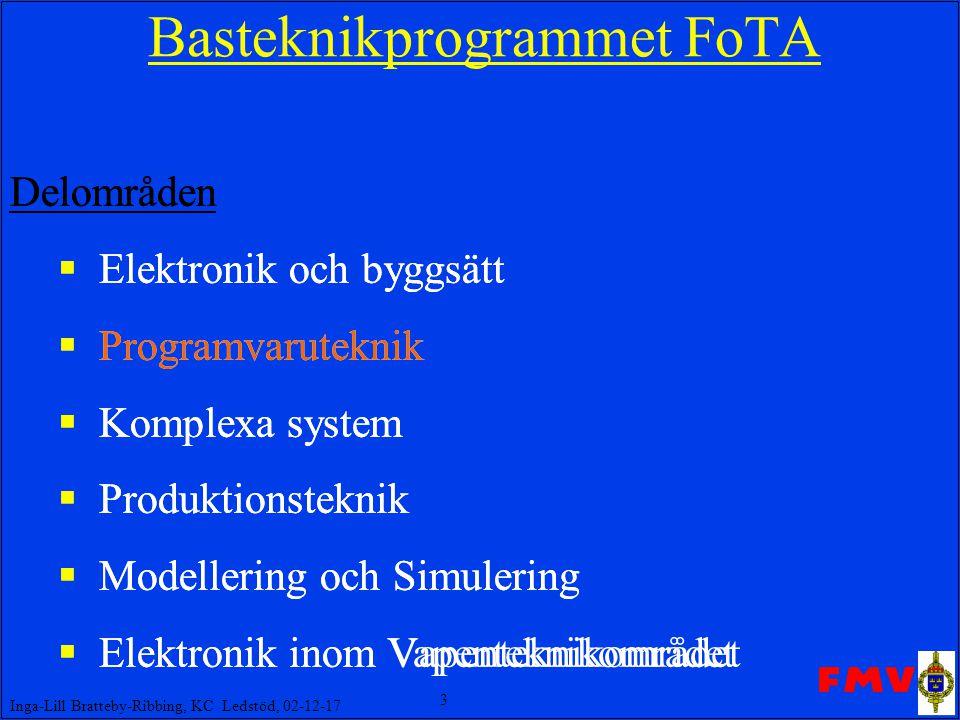 4 Inga-Lill Bratteby-Ribbing, KC Ledstöd, 02-12-17 FoTA Programvaruteknik Projekt P3: COTS & OO som bas för konstr av realtidsapplikationer EMW, CTE, Kockums, Saab  EMW, Kockums P4: Patterns & komponentåteranvändning Enator Telub, EMW, Sjöland&Thyselius, CTH, Högskolan Växjö, Colorado Technical University P7: COTS-produkter i militära lednings-& infosystem EMW, CTS, Enator Telub, WM-data P9: Experimentell verifiering av feltolerans EMW, HiSafe, Saab, CTH P10: Mana -ett runtime system för säkerhetskritiska, komplexa system Uppsala Universitet, (SESAM, NUTEK) P11: Formalisering, analys & hantering av krav på säkerhetskritiska system CTE, Industrilogik, ROMET  SBD, Industrilogik, Adelard P12: Överföring av programvaruteknik från FoTA Pi samt H ProgSäk FMV, AerotechTelub, Kockums, Saab, SBD, STE, S&T
