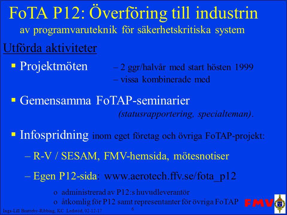 6 Inga-Lill Bratteby-Ribbing, KC Ledstöd, 02-12-17 FoTA P12: Överföring till industrin av programvaruteknik för säkerhetskritiska system  Projektmöten – 2 ggr/halvår med start hösten 1999 – vissa kombinerade med  Gemensamma FoTAP-seminarier (statusrapportering, specialteman).