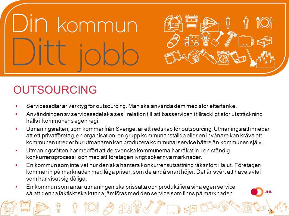 OUTSOURCING Servicesedlar är verktyg för outsourcing.