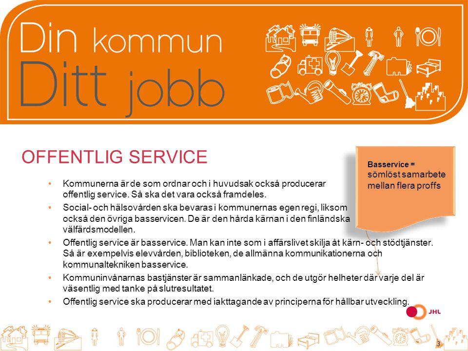 OFFENTLIG SERVICE Kommunerna är de som ordnar och i huvudsak också producerar offentlig service.