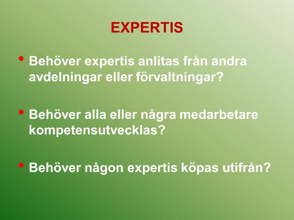 EXPERTIS Behöver expertis anlitas från andra avdelningar eller förvaltningar? Behöver alla eller några medarbetare kompetensutvecklas? Behöver någon e