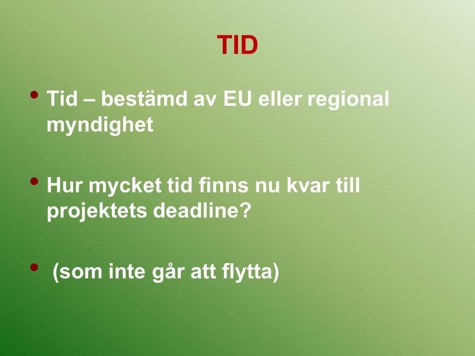 TID Tid – bestämd av EU eller regional myndighet Hur mycket tid finns nu kvar till projektets deadline? (som inte går att flytta)