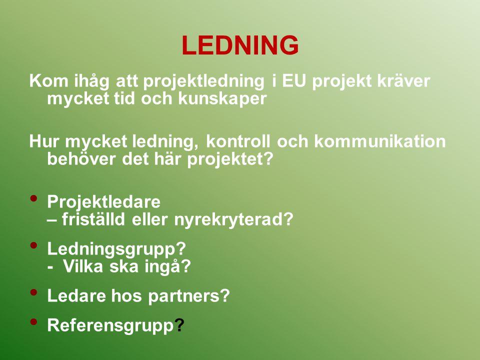 LEDNING Kom ihåg att projektledning i EU projekt kräver mycket tid och kunskaper Hur mycket ledning, kontroll och kommunikation behöver det här projek