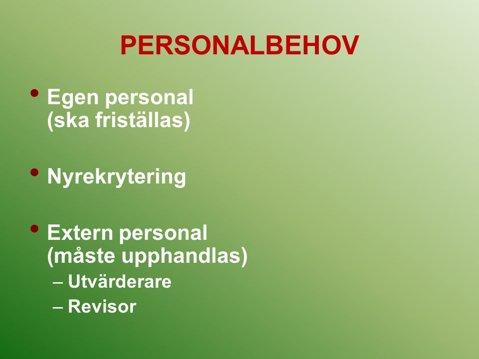 PERSONALBEHOV Egen personal (ska friställas) Nyrekrytering Extern personal (måste upphandlas) –Utvärderare –Revisor